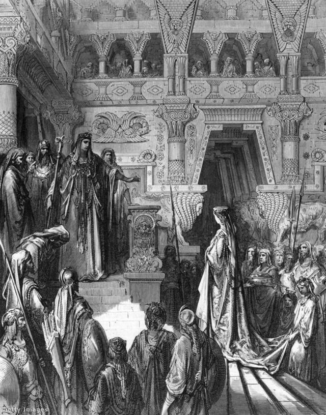 Salamon fogadja Sába királynőjét (Gustave Doré illusztrációja)