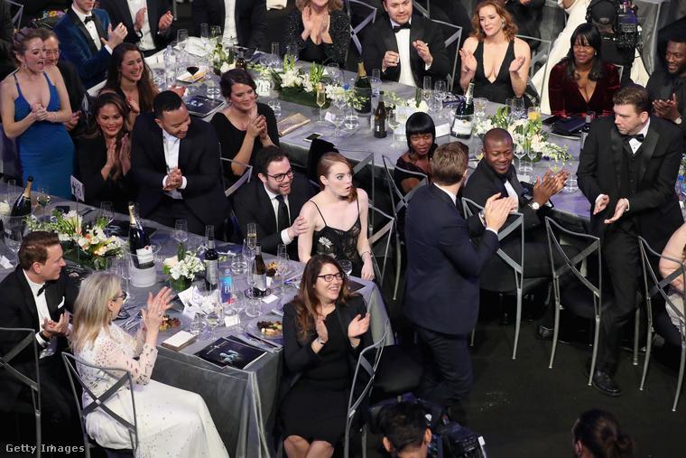 Ugyanezt a díjat a nőknél Emma Stone vitte haza, aki ilyen fejet vágott, amikor kimondták a nevét