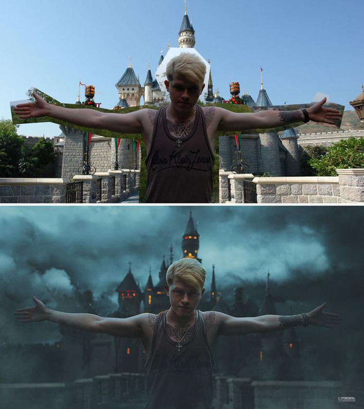 Ezután jön a háttér, ami akár egy kastély is lehet.