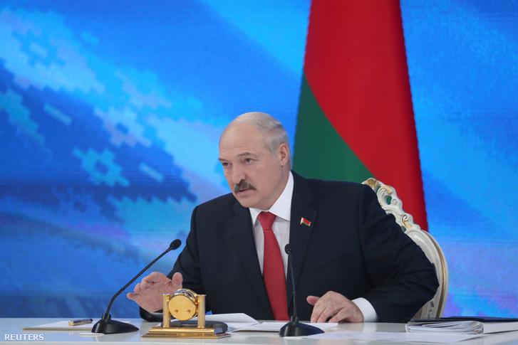 Aljakszandr Lukasenko sajtótájékoztatót tart Minszkben, 2017. február 3-án.