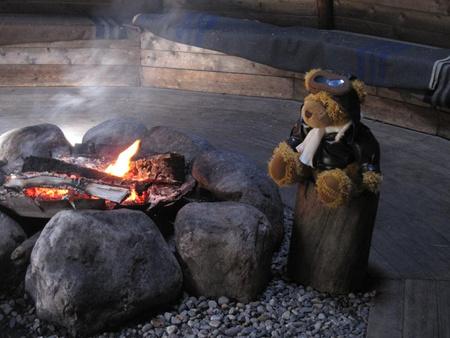 Maci a tábortűznél (Fotó: Teddy Tours Lapland)