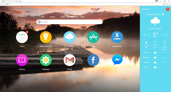 Végül találni olyan kiterjesztéseket is, amelyek minden olyasmit igyekeznek rázsúfolni az új fülre, amire hirtelen szükség lehet. Ebből a fajtából az egyik legletisztultabb külsejű az Infinity New Tab. Ki lehet pakolni a kedvenc oldalakat, a telepített Chrome-appokat, vagy az oldalsávban megnyitni a könyvjelzőket, az időjárást, egyszerű jegyzeteket írni, esetleg teendőket kezelni. Amit itt nem lehet hozzáadni, arra nagy valószínűséggel nincs is olyan nagy szükség.