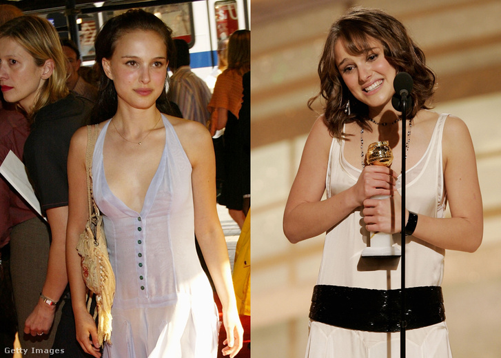 Natalie Portman fiatal színésznőként, és amikor az első Golden Globe díját kapta.