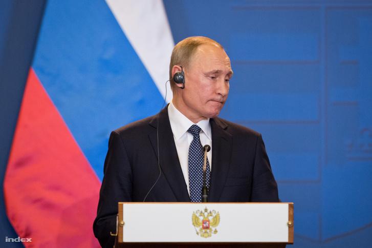 Vlagyimir Putyin a budapesti sajtótájékoztatón, február 2-án