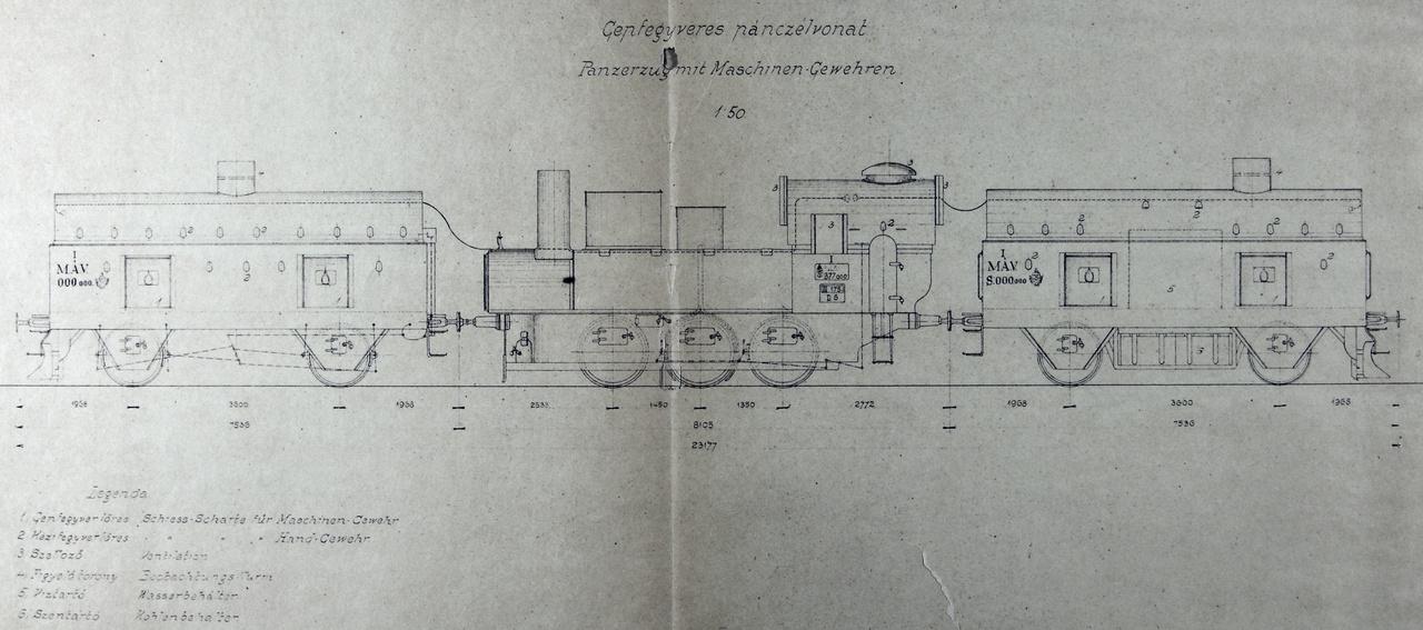 1915: Lövészkocsikból és MÁV 377 sorozatú szertartályos gőzmozdonyból álló, MÁVAG-építésű könnyű páncélvonat.