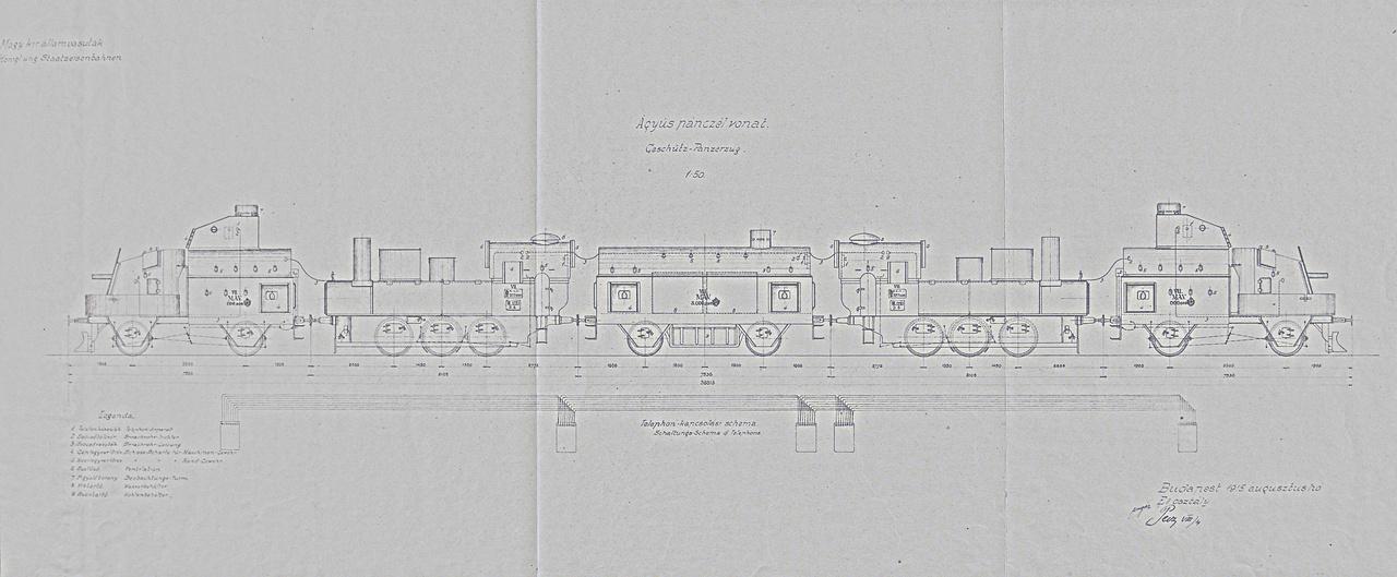 1915: Lövegkocsikkal ellátott MÁVAG-építésű osztrák-magyar nehéz páncélvonat jellegrajza, illetve a belső kommunikációt biztosító telefonvonal (!) kapcsolási rajza.