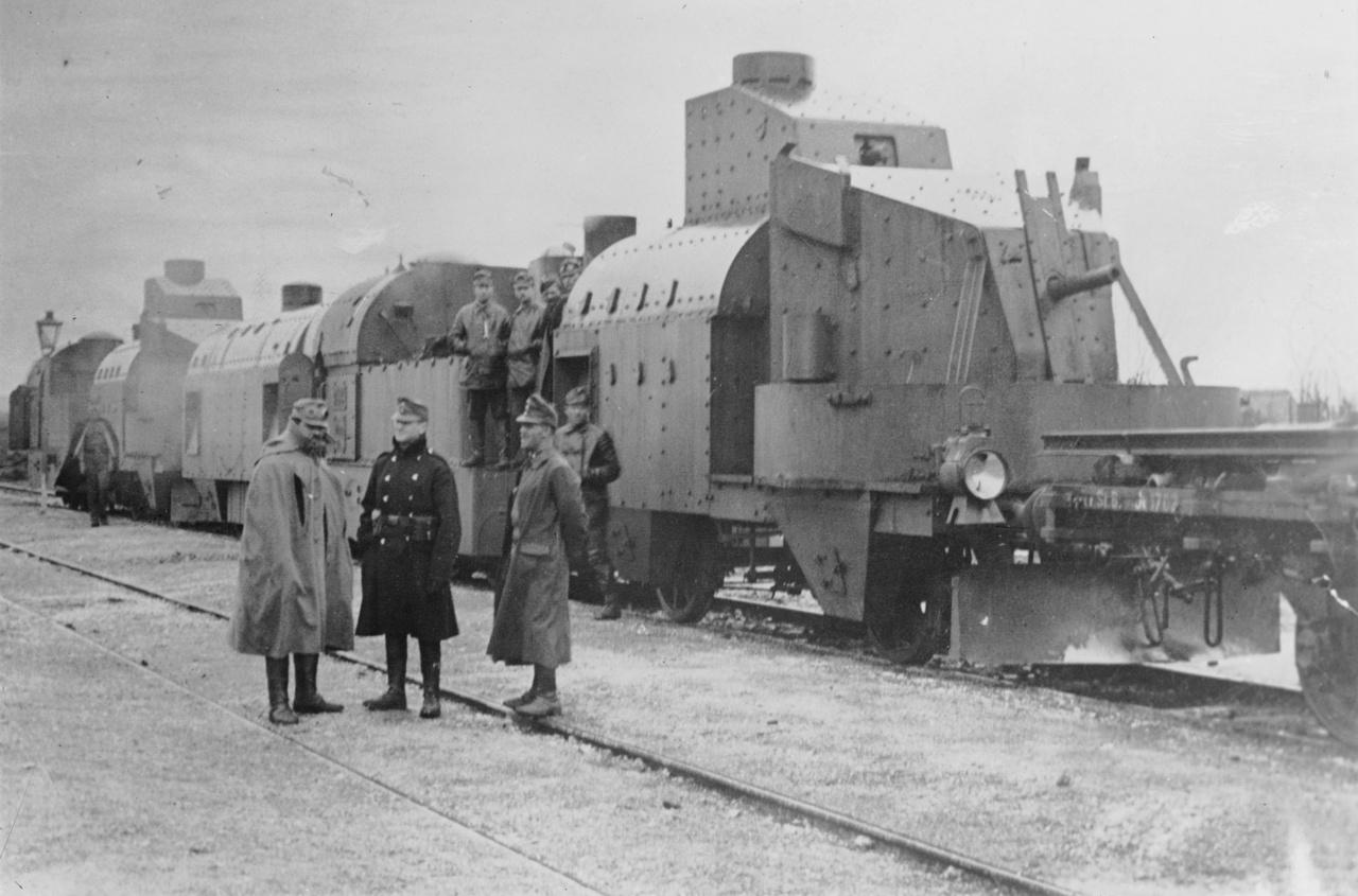1914-1915: magyar páncélvonat Galíciában, Mávag lövegkocsival.
