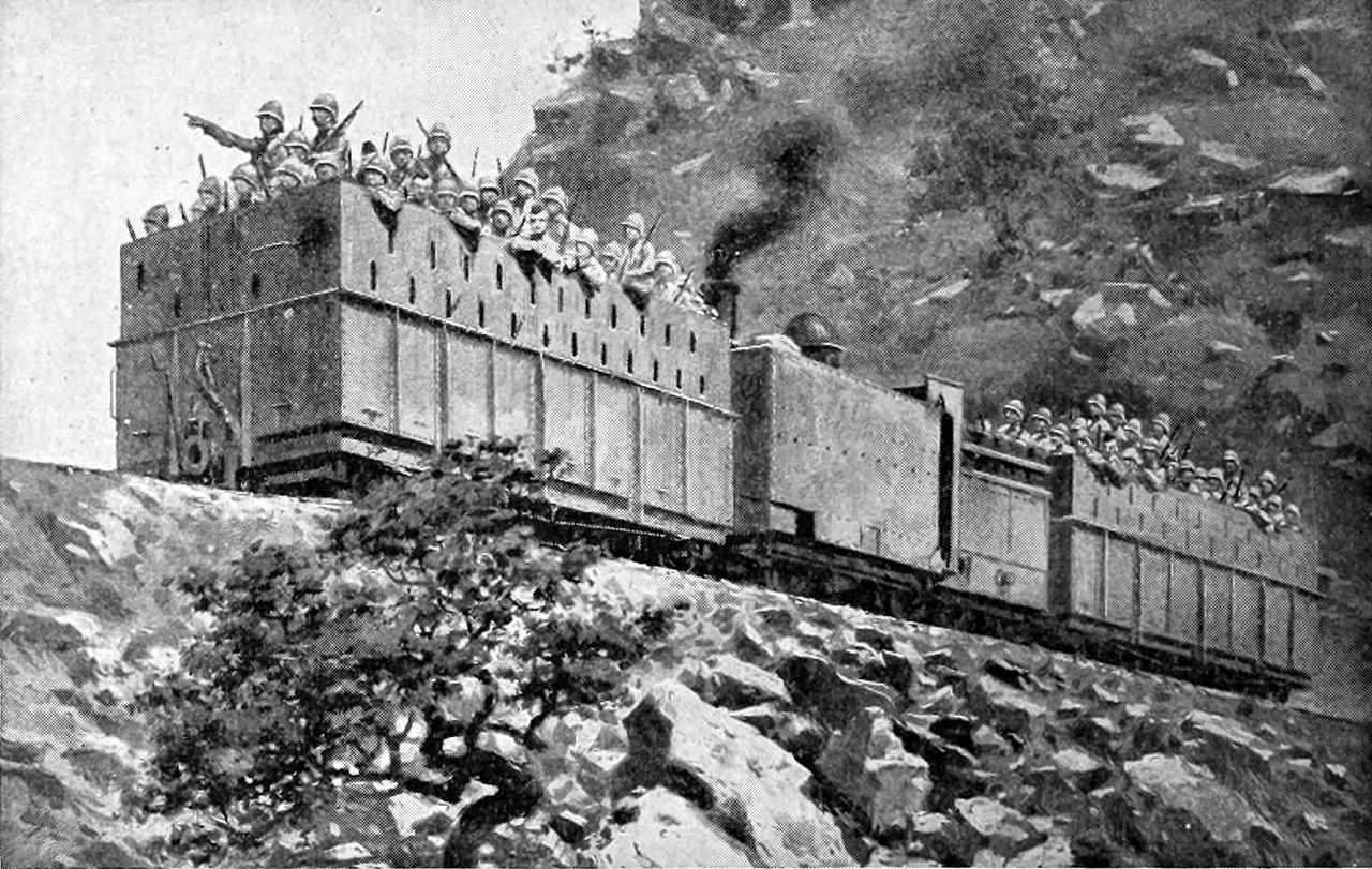 Páncélvonat 1880 körül, Dél-Afrikában, az első búr háború idején. A gőz mozdonyt középen már páncél védi, elől-hátul lőrésekkel bőségesen ellátott csapatszállító kocsik.