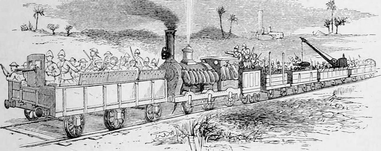 1883: brit páncélvonat Egyiptomban, elől a puskákkal, géppuskákkal felfegyverzett, magasított oldalfalú lövészkocsi, a sérülékeny gőzmozdonyt homokzsákok védték a lövedékektől, a szerkocsi egyben parancsnoki állás is, a szerelvény végén pedig utánpótlást és egyéb felszerelést szállító daruval ellátott kocsik.