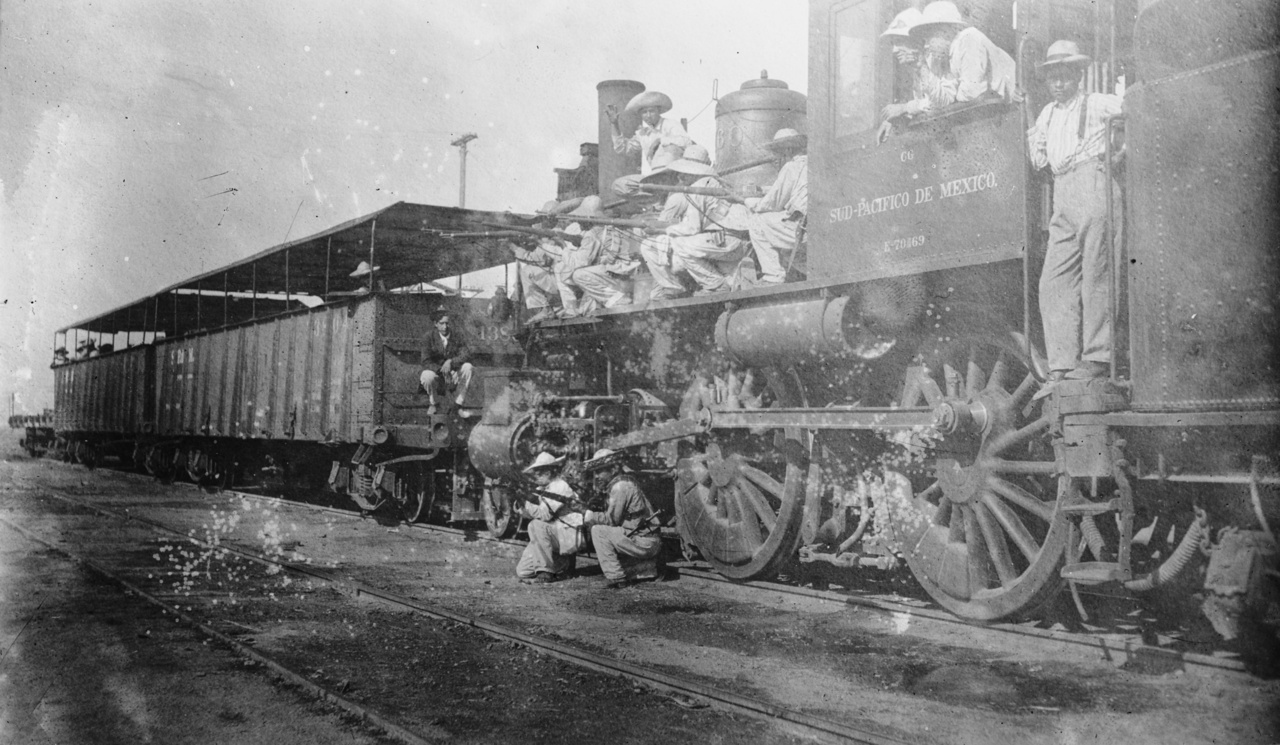 Ugyancsak a mexikói háborúban szolgált ez a kezdetleges páncélvonat, érdemes megfigyelni a mozdonnyal pózoló mexikói katonák fegyvereit, öltözékét.