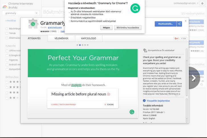A Grammarly nevű angol helyesírás-ellenőrző app bemutató oldala, rajta a fejlesztő nevével, a jobb oldalon látható feljelentő gombbal. A fent látható kis ablak a jogosultságok listájával akkor jelenik meg, amikor rányomunk a Telepítés gombra.