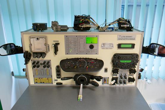 Személyautó komplett CAN-buszos rendszere, a szenzorok, segédberendezések, motor működését szimulálja