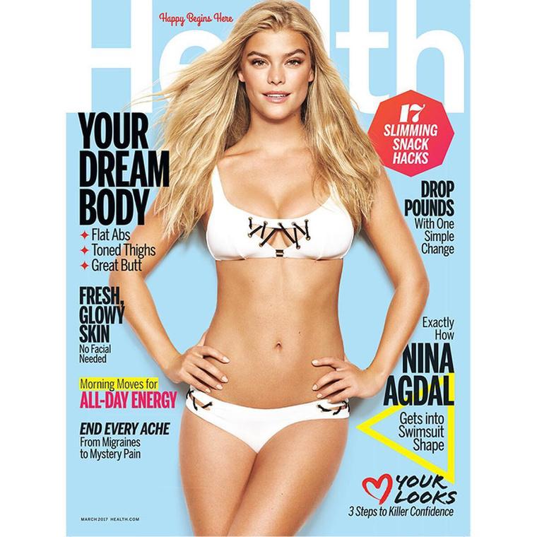 Nina Agdal is testével büszkélkedett a héten, a Health magazin címlapján