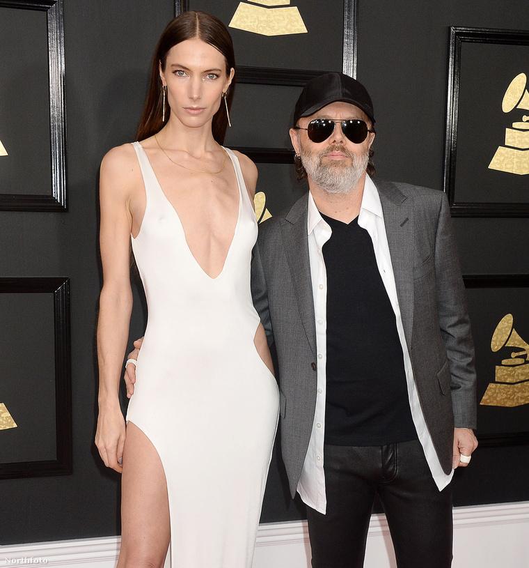 Jessica Miller és Lars Ulrich a 2017-es Grammy-gálán.