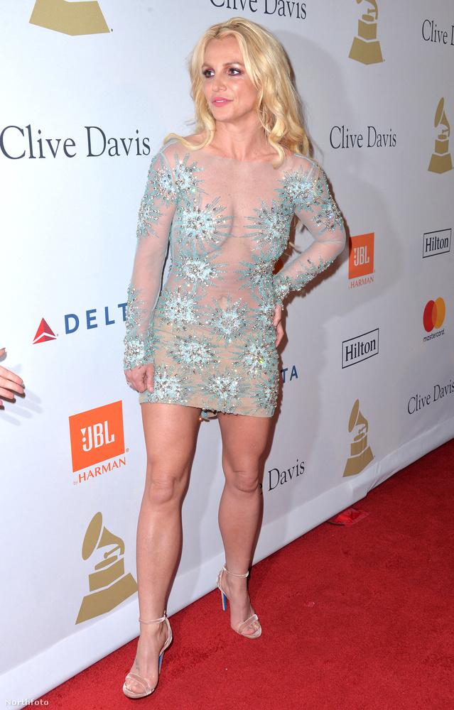 Britney Spears is csak jelképesen mutatta meg lényegét a pre-Grammy gálán: az átlátszó ruháján csak bizarr zöld és szürke csillagok takarták a testét