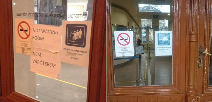 """A """"no waiting room"""" felirat is eltűnt, ezek szerint már lehet várakozni a helyiségen belül is"""