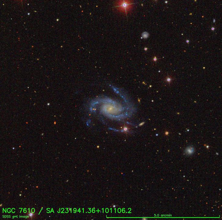 Az NGC 7610 spirálkaros galaxis volt az otthona a felrobbant csillagnak