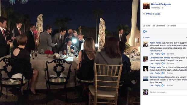Trump és Abe a vacsoraasztalnál ültek, amikor megkapták a híreket a rakétatesztről.