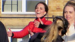 Katalin hercegné Vilmossal és Harry herceggel mókázott