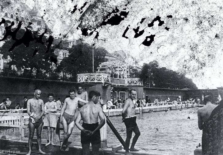 A Belgrád (Ferenc József) rakpart előtti férfi uszoda a Dunán az Erzsébet híd közelében, 1935-ben