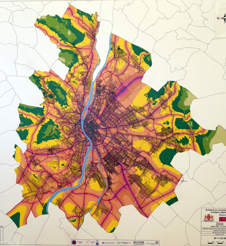 Budapest nappali stratégiai zajtérképe.