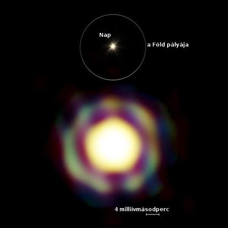 A T Leporis interferometrikus adatok alapján rekonstruált képe. A központi korong a csillag felszíne, melyet egy burok vesz körül.