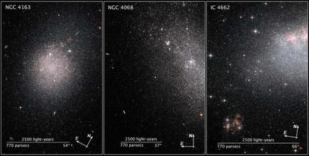 A csoport által vizsgált 18 törpegalaxis közül az NGC 4163, NGC 4068, és az IC 4662, amelyek tőlünk mért távolsága 8 és 14 millió fényév közötti. A két utóbbiban fényes, aktív csillagontó területeket figyelhetünk meg, míg az NGC 4163-ban körülbelül 200 millió éve leállt a csillagkeletkezés.