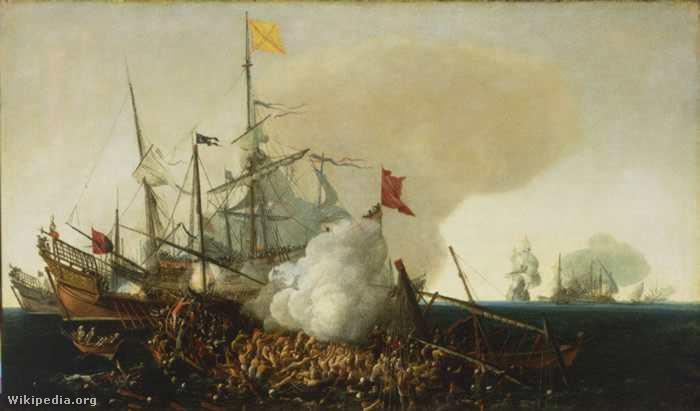Spanyol csatahajó küzdelme a berber kalózokkal