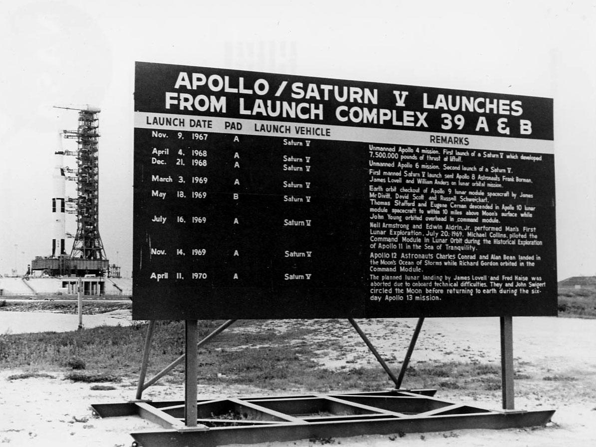 Csak az Apollo-10 indult a B startállásról, mint azt ez a korabeli tábla is mutatja. (A háttérben az Apollo-15.)