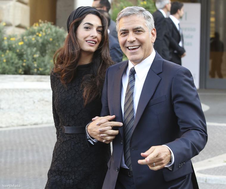 Amal és George Clooney 2016 májusában Rómában.