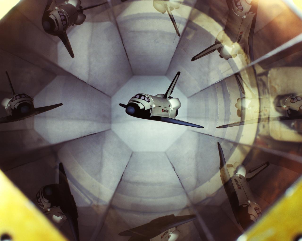 1991: egy mágnesesen felfüggesztett űrsiklómodell az LRC egyik alacsony sebességű (0,5 Mach) szélcsatornájában.