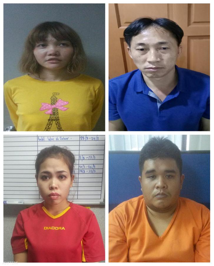A kim Dzsongnam meggyilkolása ügyében letartóztatott négy gyanúsított, Doan Thi Huong, Ri Csongcsol, Siti Aisyah és Muhammad Farid Bin Jallaludin
