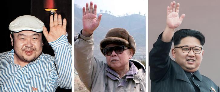 Apa és két fia. Balra Kim Dzsongnam, jobbra Kim Dzsongun, középen Kim Dzsongil.