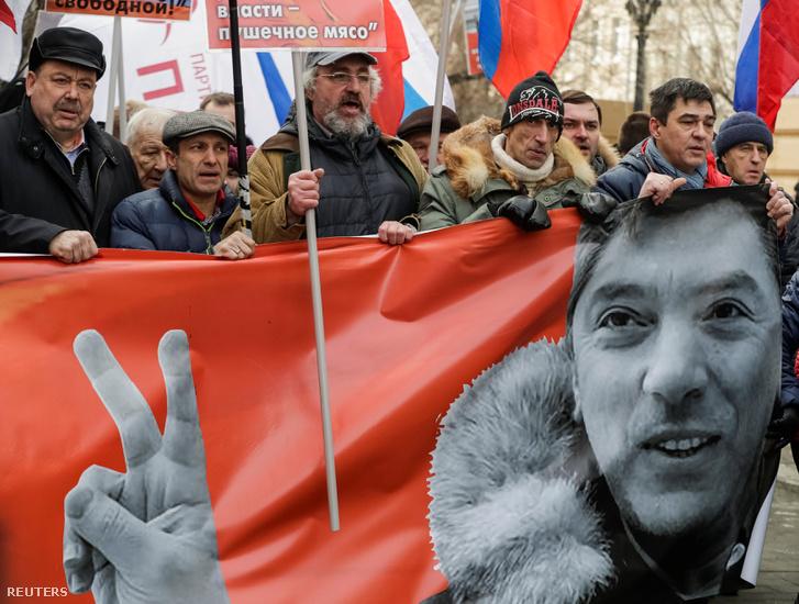 Tüntetők Moszkvában 2017. február 26-án