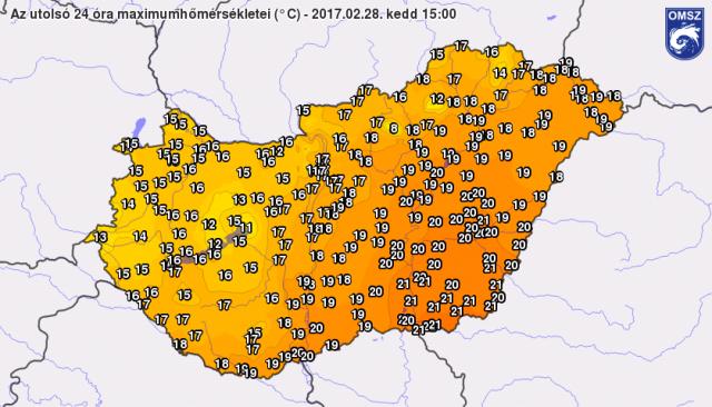 Maximum hőmérséklet értékek 2017.02.28. 16 órakor