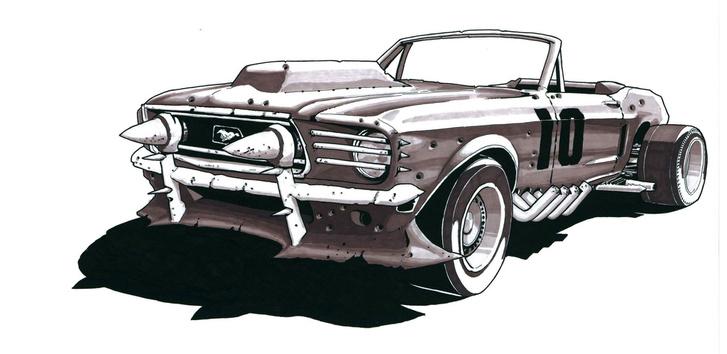 Egy 1965-ös Mustang Convertible a Cafe Postnuclear képregényből