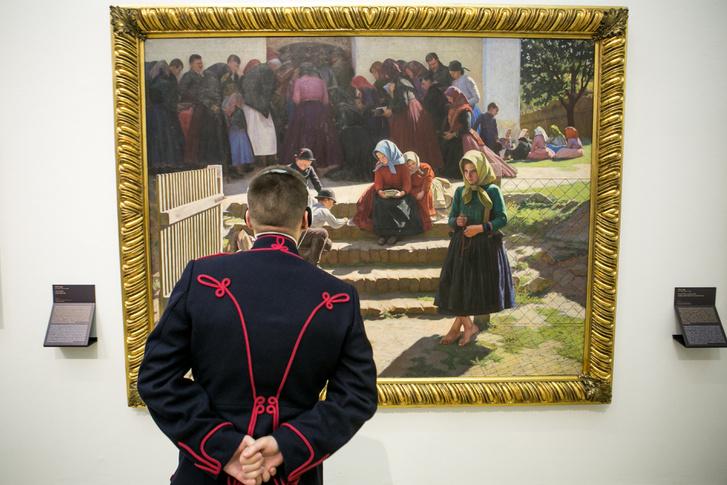 Festmény hagyományőrzővel
