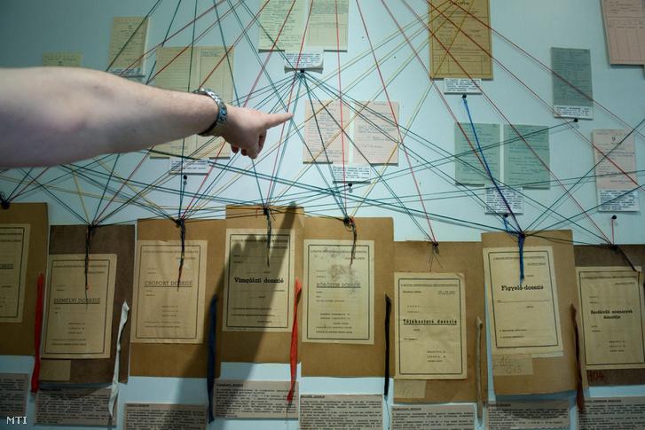 Az iratok rendszerezésének menetét bemutató oktatóábra az Állambiztonsági Szolgálatok Történeti Levéltárának raktárában.