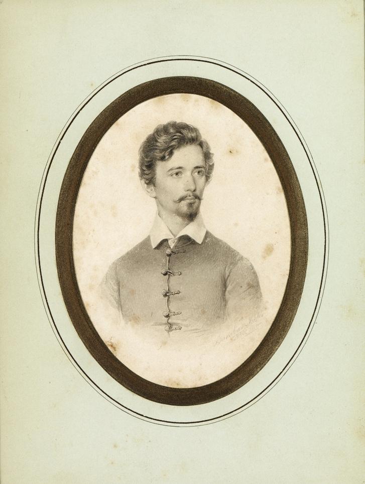 Barabás Miklós Petőfi mellképe 1846 tusrajz