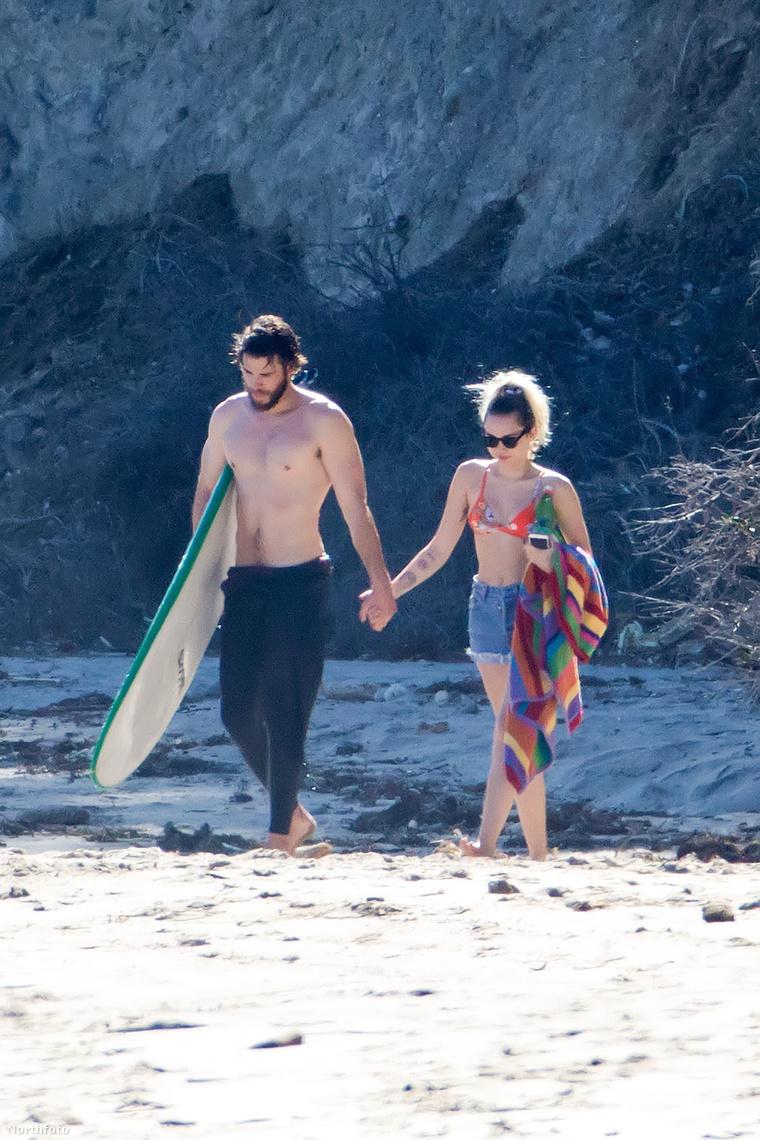 Liam Hemsworth és Miley Cyrus egy romantikus pillanatban.