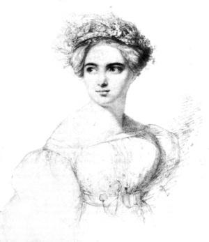 Fanny Mendelssohn portréja, későbbi férje Wilhelm Hensel rajza alapján