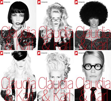 Claudia Schiffer címlapfotói a Stern Fotografie 60. számához  (Felső sor: Tradícionális kínai, titkárnő, fekete nő a nyolcvanas évekből. Alsó sor: motoros csaj, modern Marie Antoinette, Truman Capote)