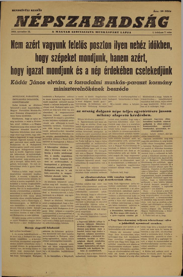 Kádár János beszéde az 1956. november 12-ei Népszabadságból