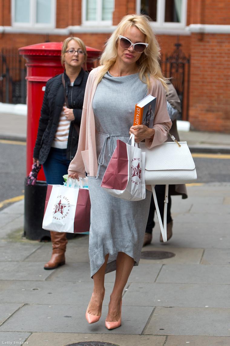 Pamela Anderson vegán ebédet visz hősének Londonban 2016 októberében.