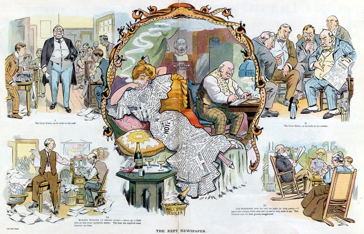 A gazdasági, politikai érdekek találkozása a lapkiadással a Puck 110 évvel ezelőtti karikaturisztikus tablóképén
