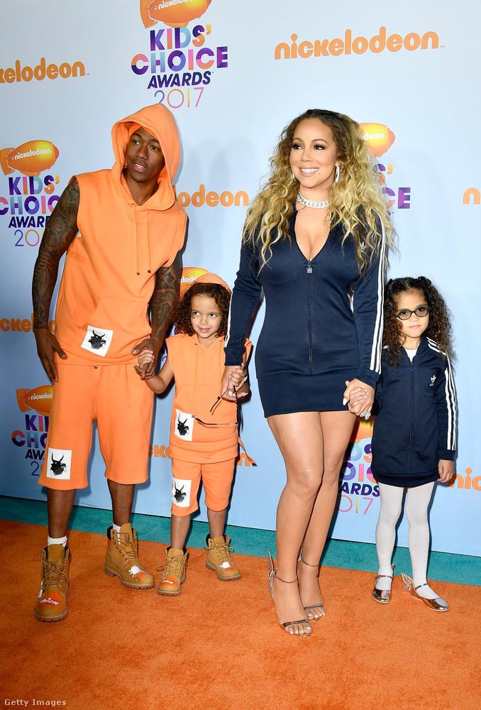 Hát igen, egyrészt az az érdekes ezekben a képekben, hogy Mariah Carey saját gyerekei jelenlétében sem mond le a luxuskurvás stílusról, másrészt az, hogy bár az énekesnő azóta új pasival jár, volt férjével most együtt vitték el a kis Monroe-t és Moroccant a Kids' Choice-ra