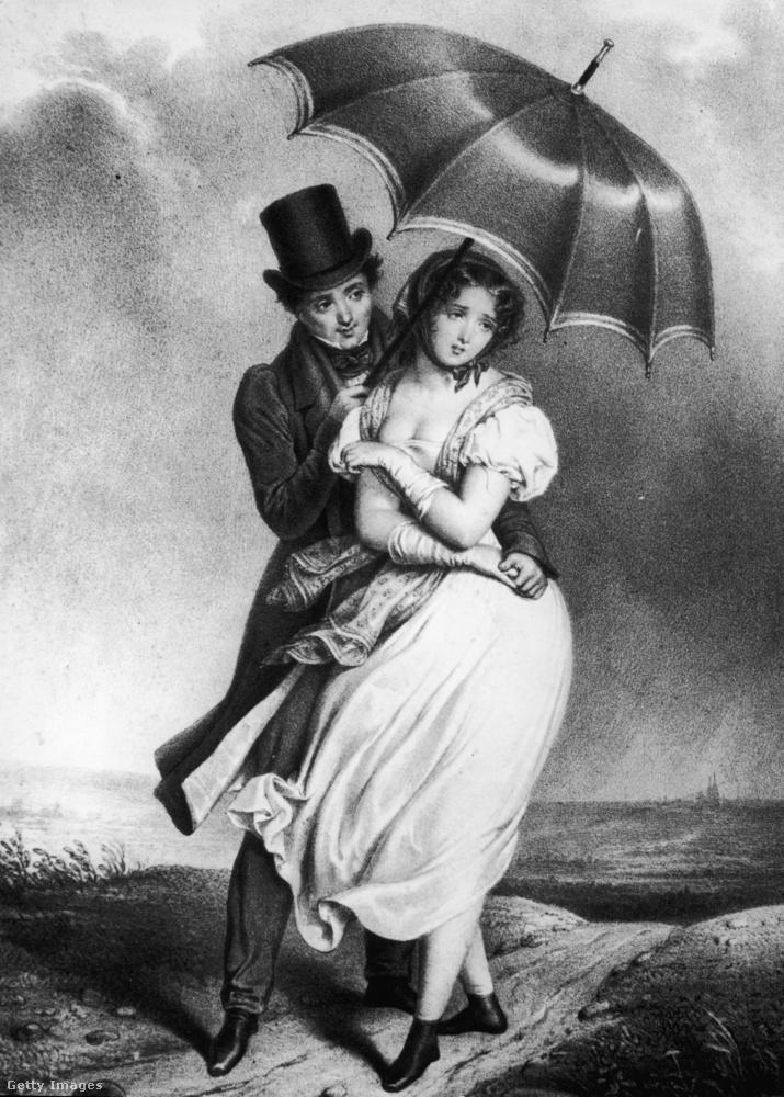 Ez a kép megint az 1800-as évek derekáról van, és azt mutatja, hogy a férfi hiába tartja az ernyőt készségesen a hölgynek, a nő azért nincs különösebben elragadtatva