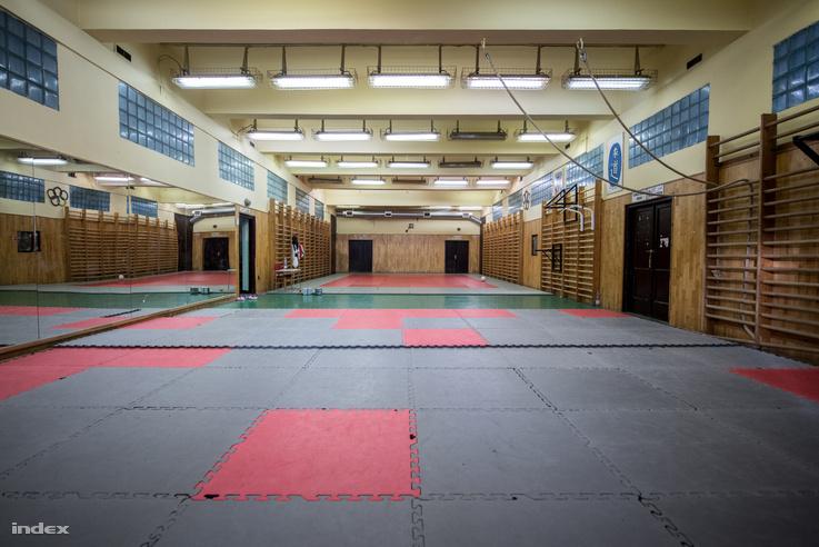 A kép előterében a fitness szakosztály gumipadlója, háttérben a dzsúdósok tatamija. Alkalmanként negyven dzsúdós edz rajta egyszerre.