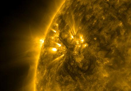 A napkorong egy részlete az SDO felvételén