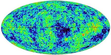A WMAP mikrohullámú égboltképén körök jelzik azokat a rádiótartománybeli pontforrásokat, melyeket Shanks és Sawangwit használt annak bizonyítására, hogy a WMAP adatai a korábban gondoltnál nagyobb hibával terheltek. [NASA/WMAP, Durham University]